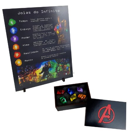 Caixa Joias do Infinito Manopla Thanos + Quadro Explicativo