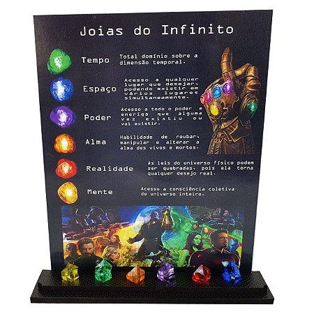 Quadro Vingadores + Expositor Joias do Infinito Thanos