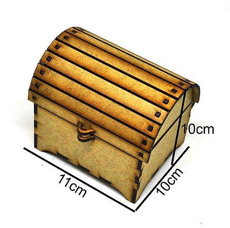 Bauzinho madeira MDF lembrancinha porta-joias baú pirata