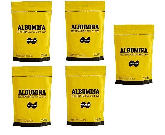 5x Albumina 500g Naturovos 2,5kg - Escolha os Sabores