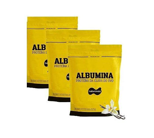 3x Albumina 500g Naturovos 1,5kg - Sabores