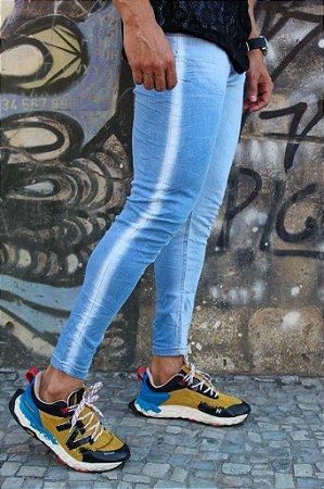 Calça skinny faixa lateral