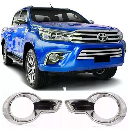 Moldura Farol de Milha ShekParts Toyota Hilux 2016 a 2018 Cromado