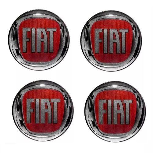 Emblema de Calota Fiat Vermelho 48 mm Resina URA