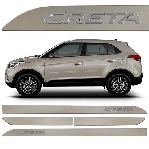 Kit Friso Lateral Sean Car Creta 2016 a 2020 Prata Sand Alto Relevo