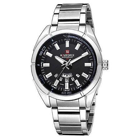Relógio Masculino Prata e Preto