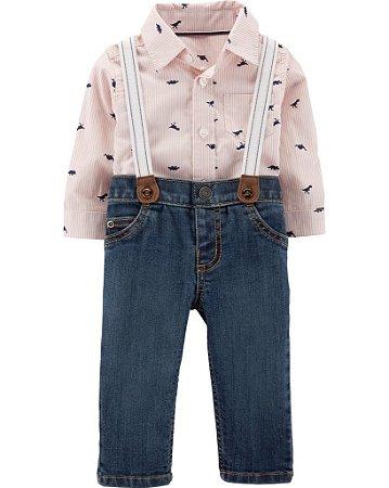 8142e7c6e107 Conjunto 2 peças body camisa, calça jeans e suspensórios - Carters