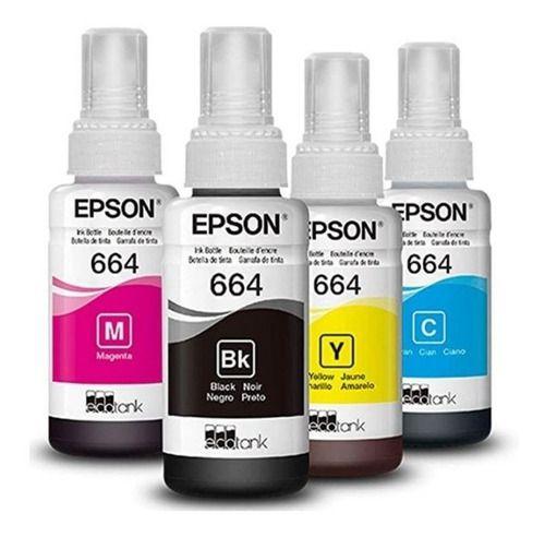 Kit Refil Tinta T664 Epson L365 L375 L475 L200 70ml Un