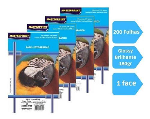 Kit 200 Folhas Papel Fotografico A4 Glossy 180g Masterprint