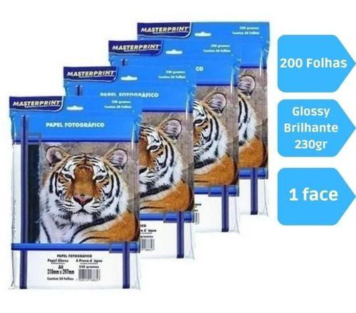 Kit 200 Folhas Papel Fotografico A4 Glossy 230g Masterprint