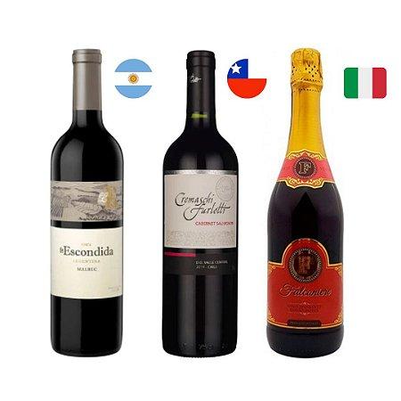 Kit vinhos seleção de sabores+ espumante Falconiere 750 ml