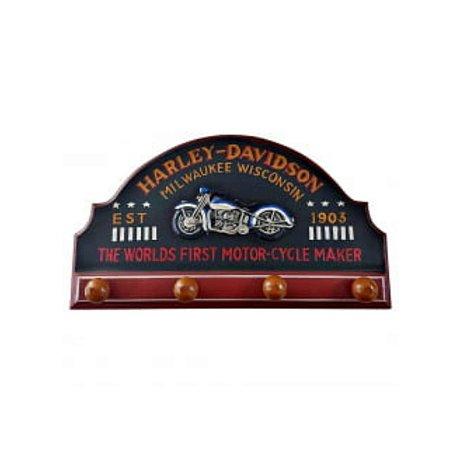 Placa madeira Harley Davison c/ ganchos