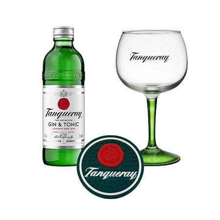 Kit Gin Tônica Tanqueray 275 ml + Taça Vidro 600ml + porta copos emborrachado
