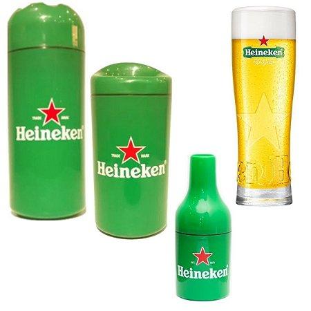 kit 3 porta cervejas Heineken + Copo Heineken 250 ml