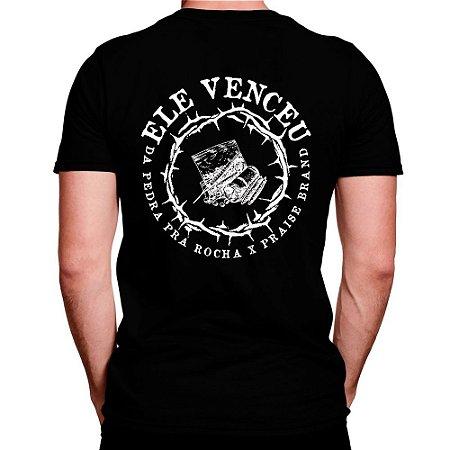Camiseta Preta Ele Venceu x Colab Praise Brand