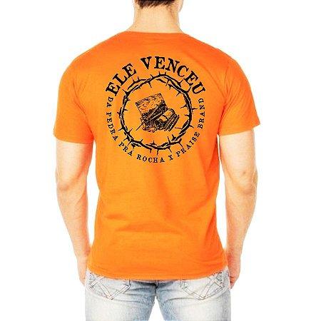 Camiseta Laranja Ele Venceu x Colab Praise Brand