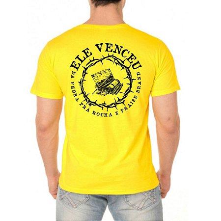 Camiseta Amarela Ele Venceu x Colab Praise Brand