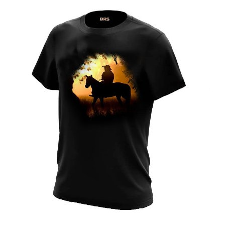 Camiseta Country Cowgirl Cowboy Cavaleiro Por do Sol