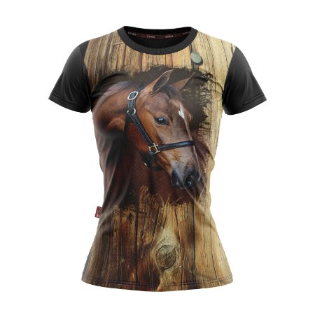Baby Look Moda Country Cowgirl Rosto Cavalo Marrom