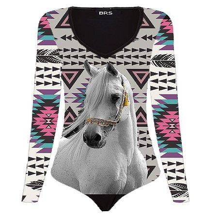 Body Manga Longa Country Cowgirl White Horse