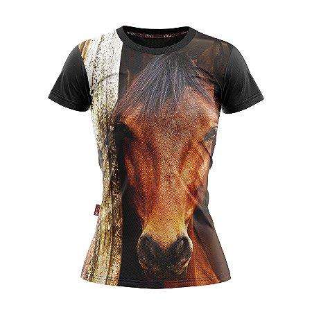 Baby Look Moda Country Cowgirl Rosto de Cavalo