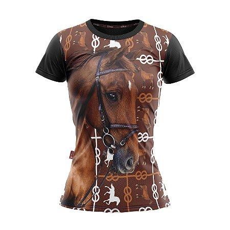 Baby Look Moda Country Cowgirl Estampa de Cavalo