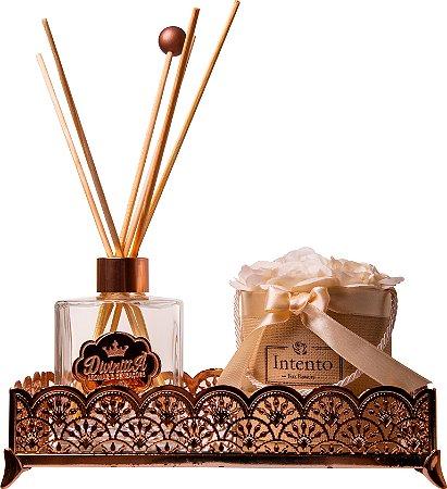 Kit Aromatizador Linha Premium com Bandeja Requinte ROSE GOLD e Box de Flores