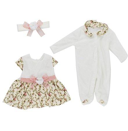 Conjunto de Roupa Branco Florido Bebê Reborn