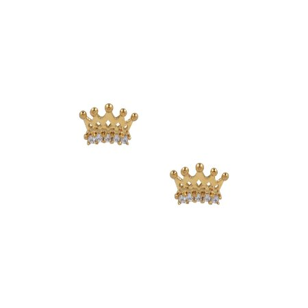 Brinco Coroa Princesa Ouro 18k