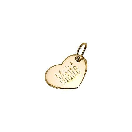 Pingente coração em ouro 18k com Nome personalizado  de um lado e inicial do outro