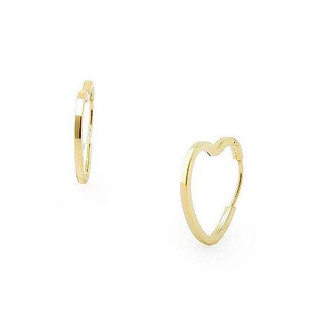 Brinco Argola Coração de Ouro 18k Mini