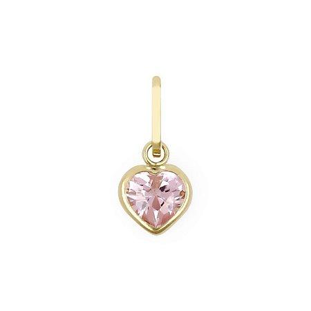 Pingente Coração Ouro 18K com Zircônia 5mm Rosa
