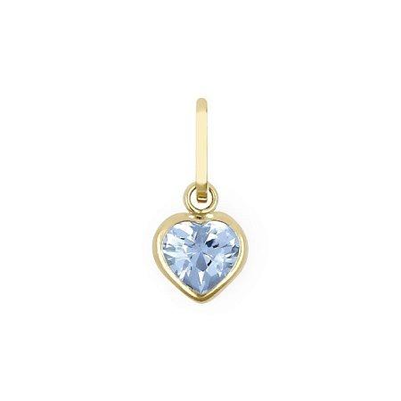 Pingente Coração Ouro 18k com Zircônia 5mm Azul