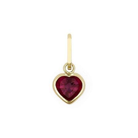 Pingente de Ouro 18k com Coração de Zircônia Vermelho 5mm