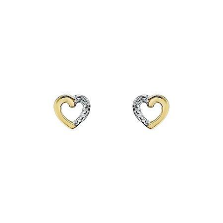 Brinco Coração de Ouro 18k com Detalhe Ouro Branco