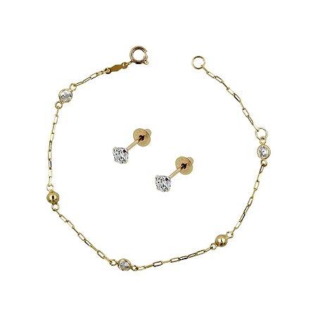 Conjunto de Pulseira em Ouro18k com Bolinhas e Pedras zircônias + Brinco de Ouro 18k com Pedra Branca Zircônia 2,5mm Baby
