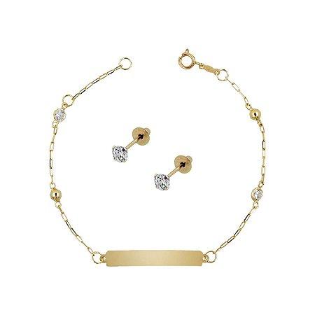 Conjunto de Pulseira de Chapinha Ouro 18k com Bolinhas e Pedras zircônias + Brinco de Ouro 18k com Pedra Branca Zircônia 2,5mm Baby- Gravação Gratis