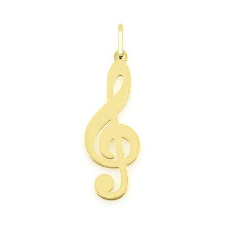 Pingente Musical Clave do Sol de Ouro 18k