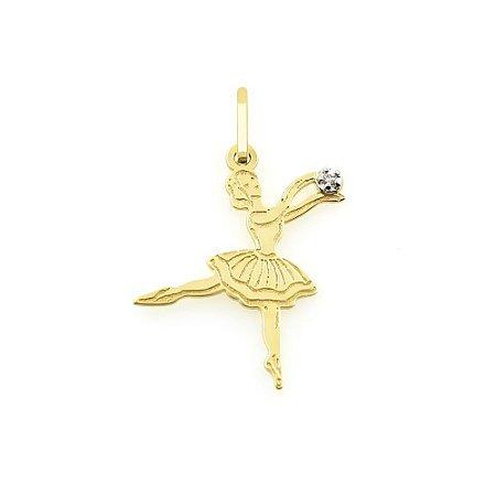 Pingente de Bailarina com Diamante em Ouro 18K