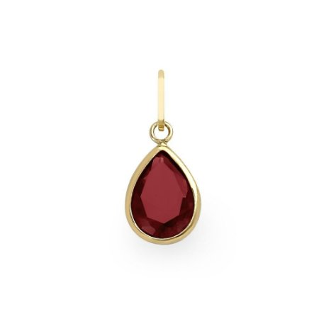Pingente de Ouro 18k Gota de Zircônia Vermelha/Rosada 8x6mm