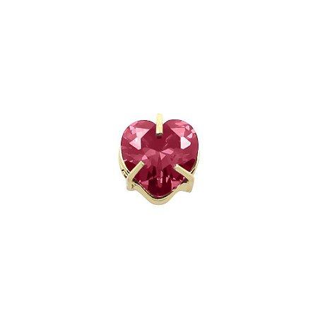 Pingente de Coração com Pedra Zircônia em Ouro 18k