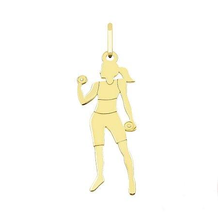 Pingente em Ouro 18k Mulher Fitness com Halter