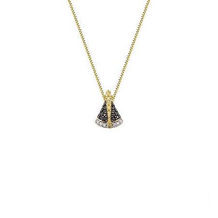 Conjunto de Ouro 18K Gargantilha 45 cm e Pingente Nossa Senhora Aparecida com Zircônias Azuis