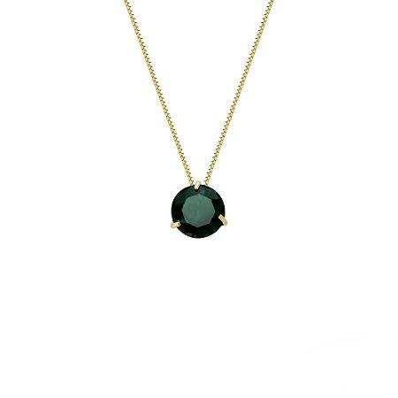 Conjunto Ponto de Luz de Ouro 18K com Gargantilha de 45cm e Pedra Verde Zircônia