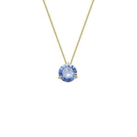 Conjunto Ponto de Luz de Ouro 18K com Gargantilha de 40cm e Pedra Azul Zircônia (Pode haver alteração na cor por ser zircônias).