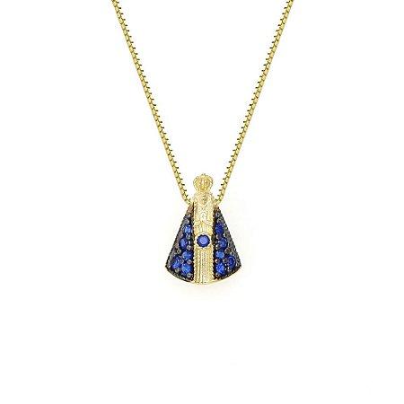 Conjunto em Ouro 18K com Gargantilha Veneziana 40cm e Pingente Aparecida Zircônias Azuis