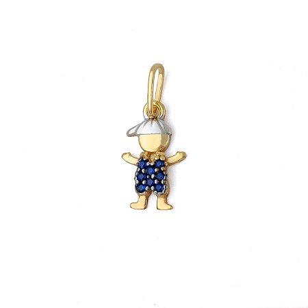 Pingente Menino Zircônia Azul em Ouro 18K