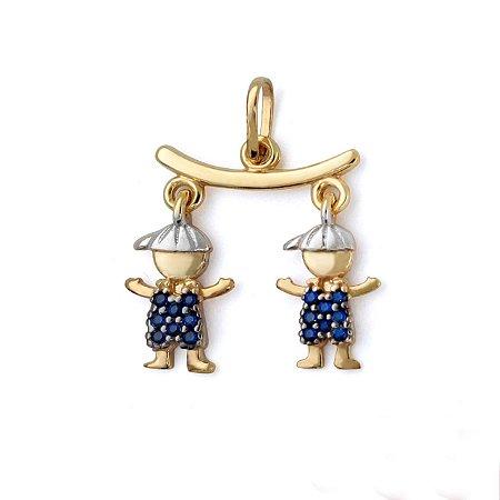 Pingente Canga com Dois Bonecos Zircônia Azul Ouro 18k