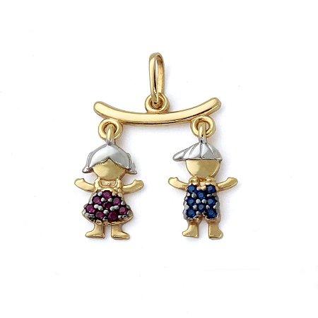 Pingente Canga com Casal Menina / Menino com Zircônia Rosa e Azul Ouro 18k