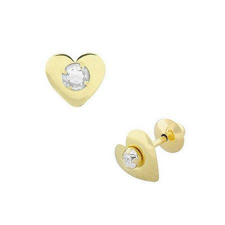 Brinco Coração de Ouro 18K com Pedra Branca Zircônia